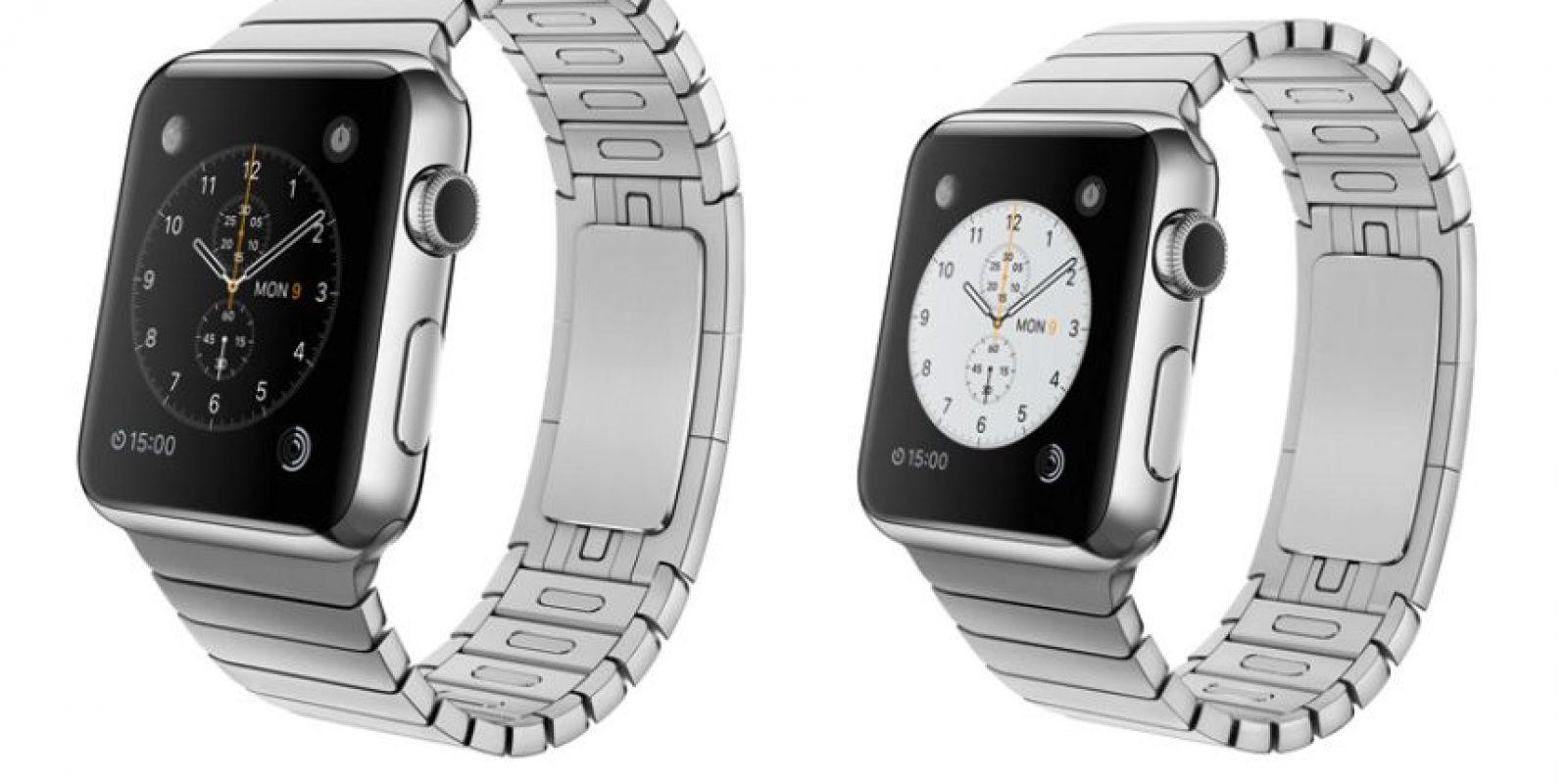 Este es el Apple Watch con brazaletes de acero, en versiones 42 y 38mm. Foto:Apple