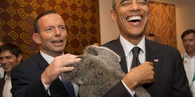 Barack Obama convive con un koala australiano Foto:Getty