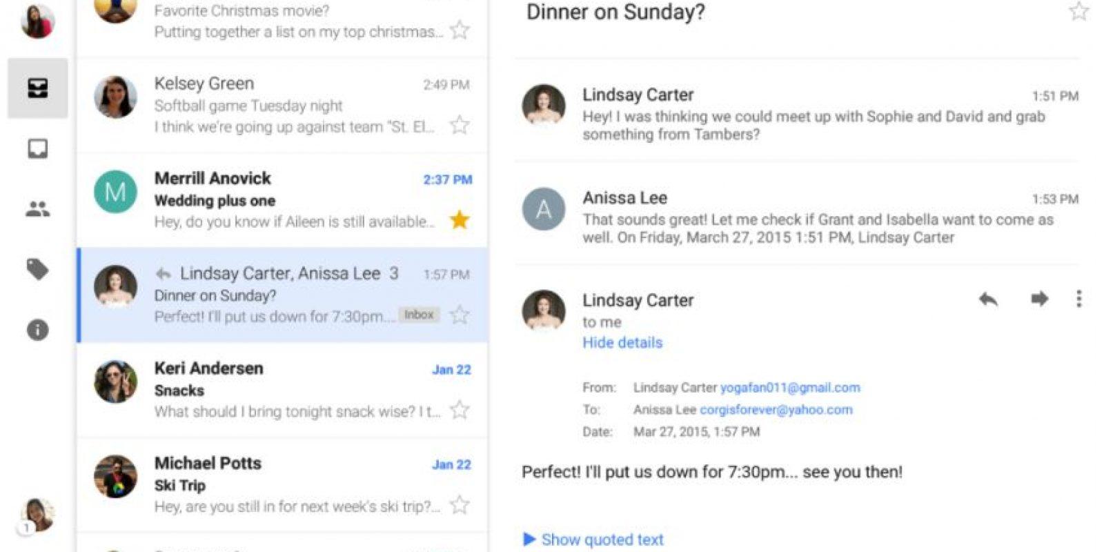 Así lucirá el Gmail en Android Foto:Google