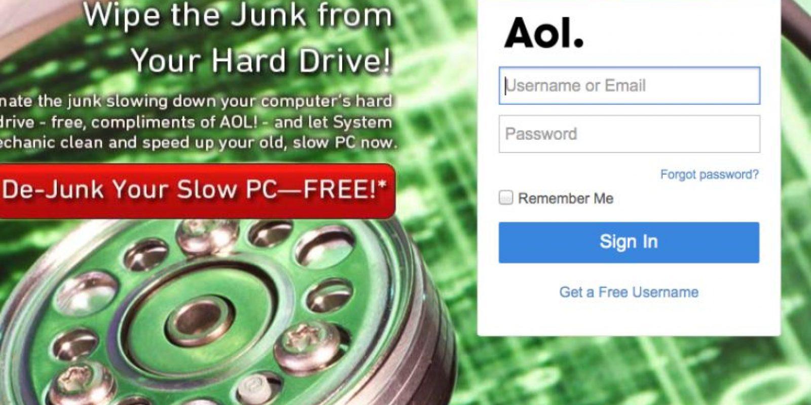 Aol comenzó a la par de servicios como MSN y Yahoo, pero no pudo mantener el ritmo de crecimiento. Foto:Aol