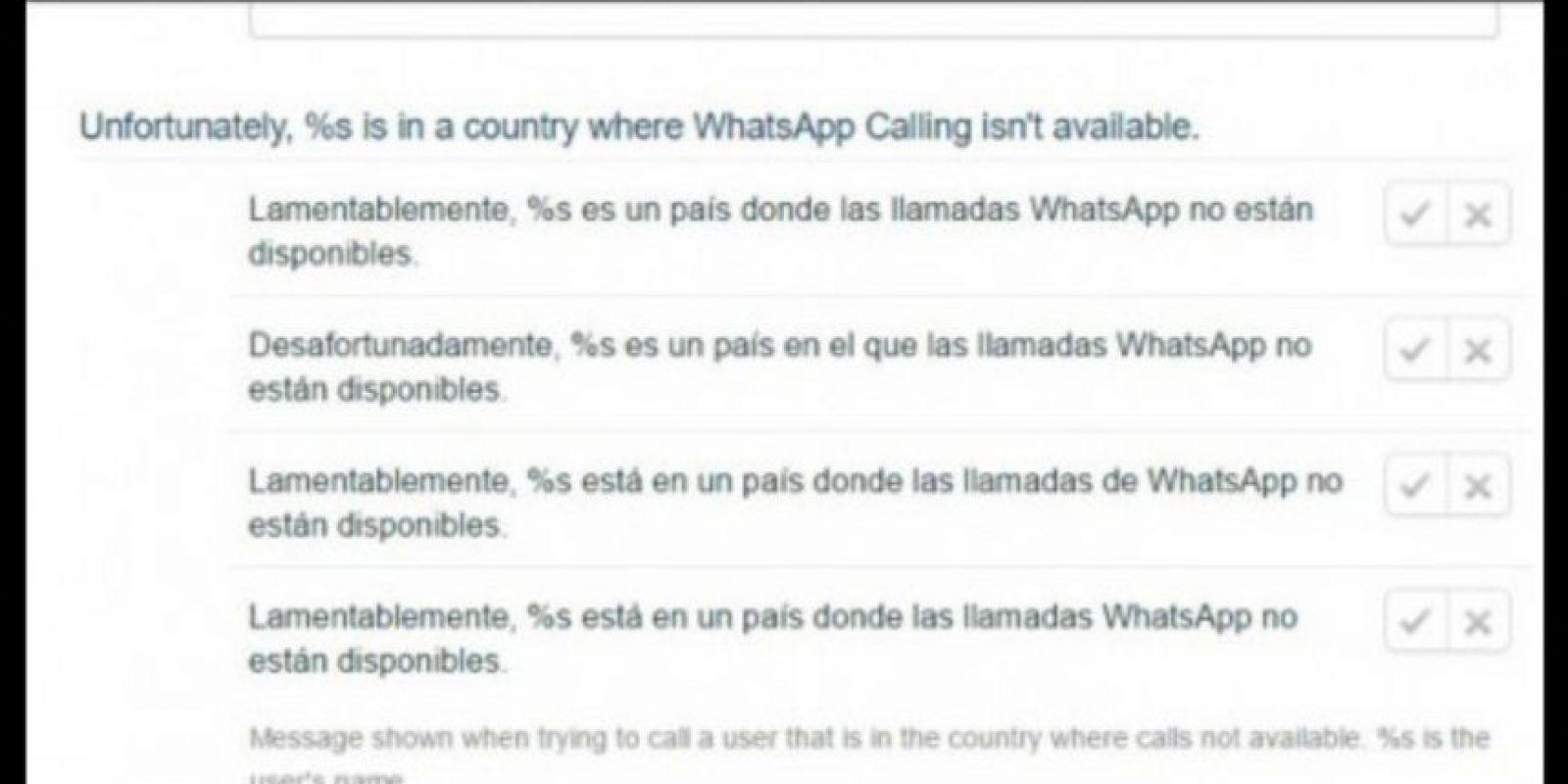 En algunos países, las llamadas de WhatsApp no estarán disponibles, así lo confirmó este mensaje de WhatsApp Traslation. Foto:WhatsApp Traslation