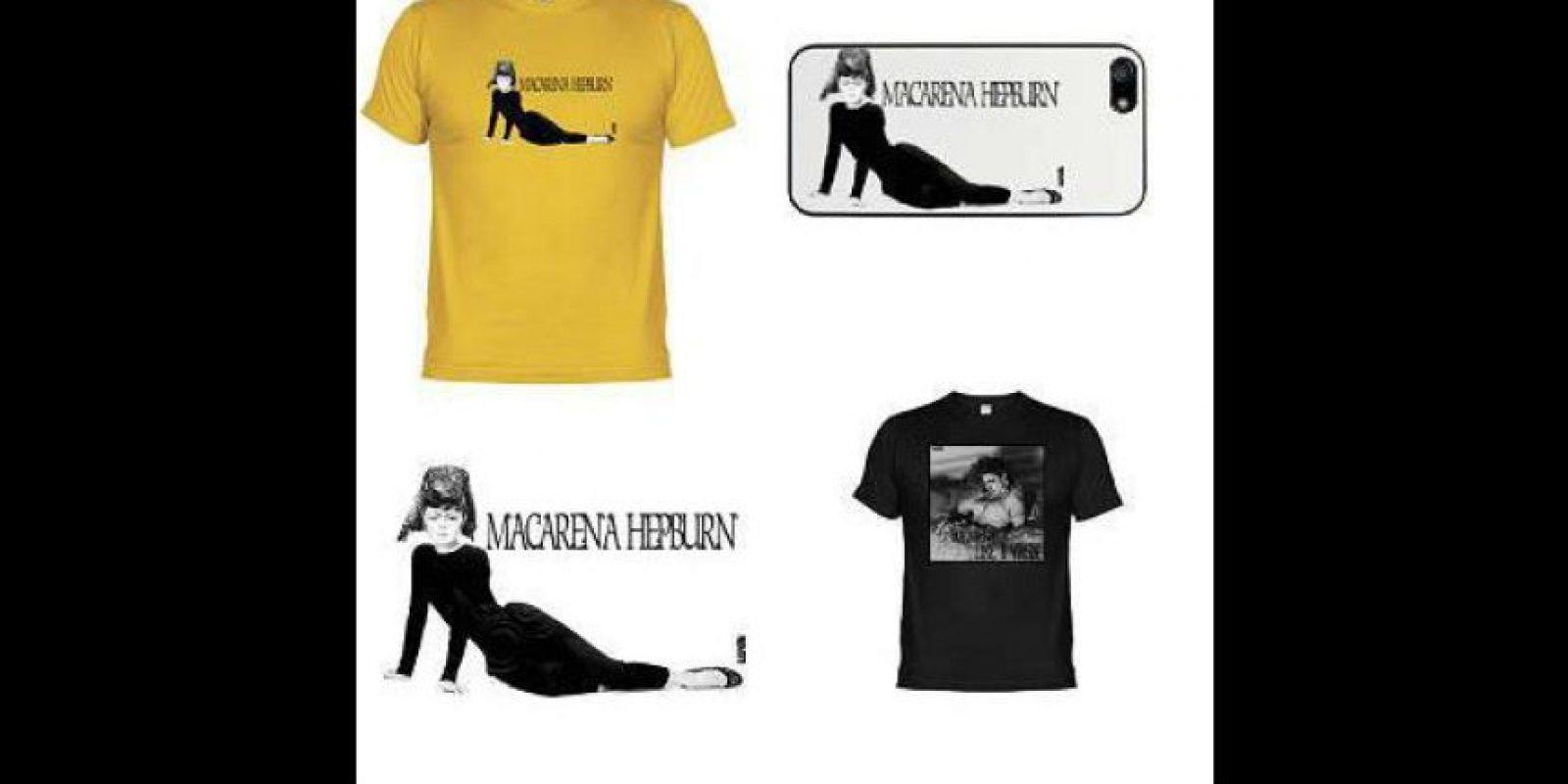 """Otra de las prendas de la empresa """"Blasphemia T-Shirts"""" presentaba la imagen de esta deidad pero en el cuerpo de la actriz Audrey Hepburn, protagonista de la cinta """"Breakfast at Tiffany's"""" (1961). Foto:Facebook"""