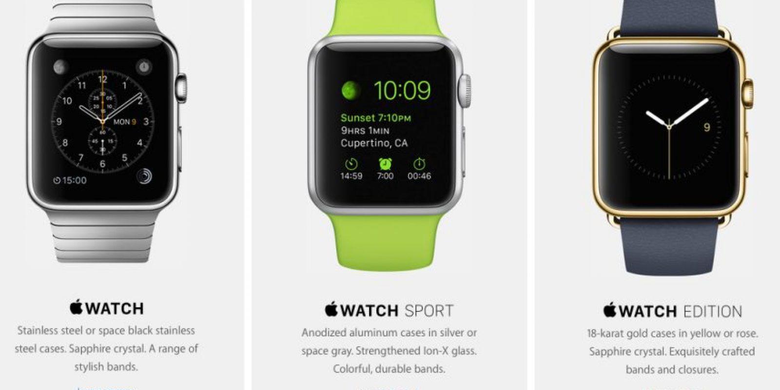 Estas son las tres versiones del Apple Watch que serán lanzadas en unos días. Foto:Apple