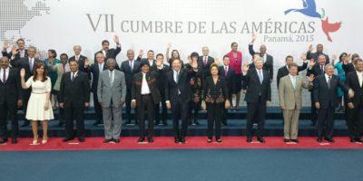 Así cerró la primera sesión plenaria de la VII Cumbre de las Américas. Foto:AP