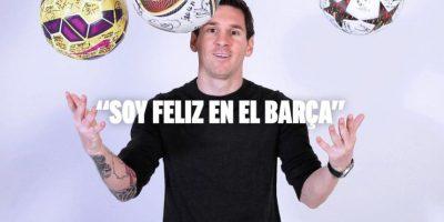 """Messi lleva 34 goles en la temporada actual y pelea con Cristiano Ronaldo por el """"Pichichi"""" para el mejor anotador en la Liga de España. Foto:Vía twitter.com/fcbarcelona"""