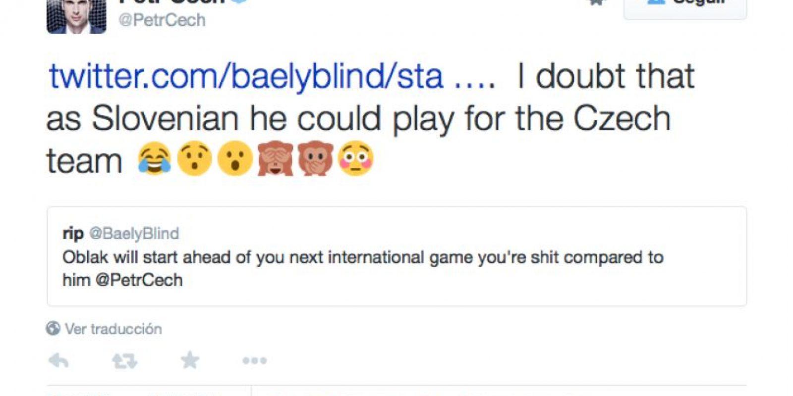 Cech respondió a quien lo consideró inferior que Oblak y le escribió en esa red social.