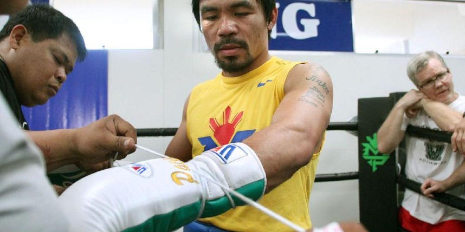 """Ahora, el filipino buscará revalidar ante """"Money"""" su título como campeón de la Organización Mundial de Boxeo (WBO) y ganarse el título del Consejo Mundial de Boxeo (WBC) y el título de la Asociación Mundial de Boxeo (WBA) que pertenecen a Mayweather. Foto:Vía facebook.com/MannyPacquiao"""