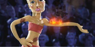 Al final, Paris Hilton es calcinada por su propio perfume. Foto:vía MTV