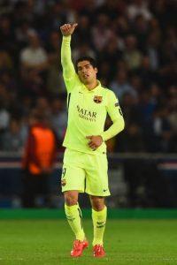 Luis Suárez. El uruguayo marcó un doblete en la victoria del Barcelona 3-1 sobre el PSG Foto:Getty Images