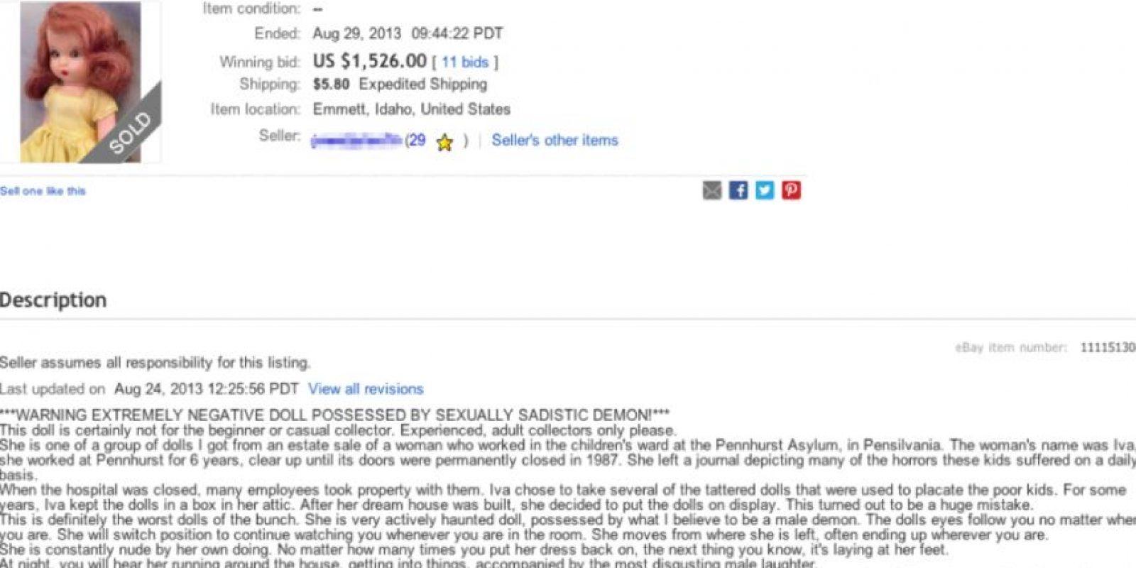 """Incluso los """"muñecos diabólicos"""" se pueden conseguir en eBay Foto:vía eBay"""