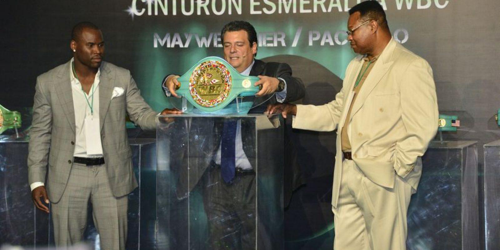 """Fue presentado oficialmente el cinturón que se llevará el ganador de la """"Pelea del Siglo"""". Foto:World Boxing Council"""