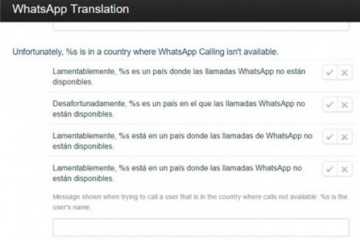 Fueron muchos los rumores antes de que se estrenará la función. Por ejemplo, algunos países no contarán con la característica, según mensajes de los traductores de la app Foto:translate.whatsapp.com/