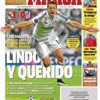 """El diario """"Marca"""" le dedicó la portada y tituló """"Chicharito Lindo y Querido"""" Foto:marca.com"""
