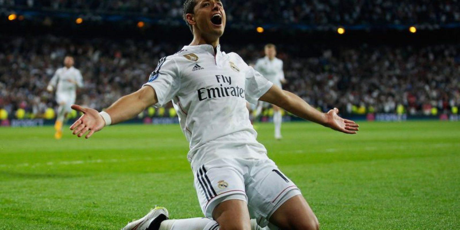 """El delantero mexicano Javier Hernández anotó el gol de la victoria para el Real Madrid en el """"euroderbi"""" ante el Atlético. Foto:Getty Images"""