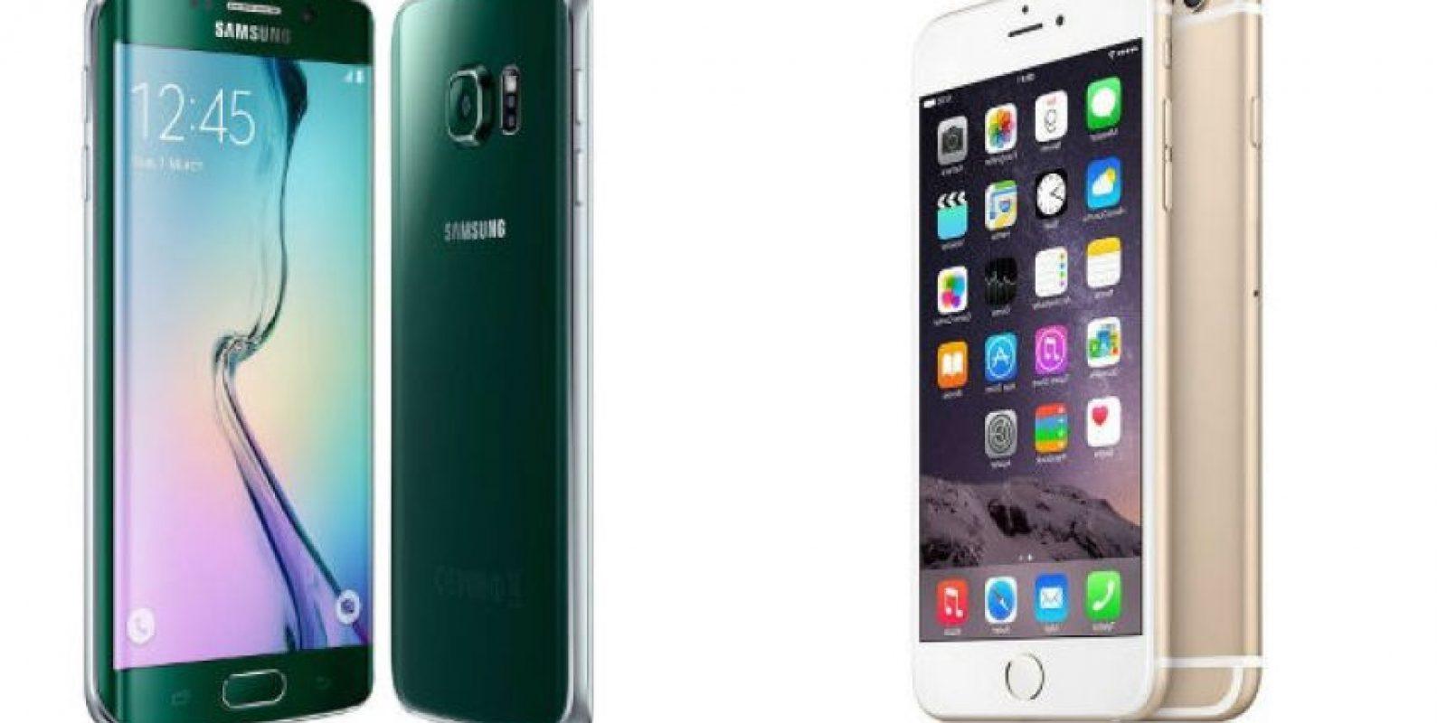 Samsung Galaxy S6 Edge quiere pelear el reinado del iPhone 6 Plus. Foto:Samsung / Apple