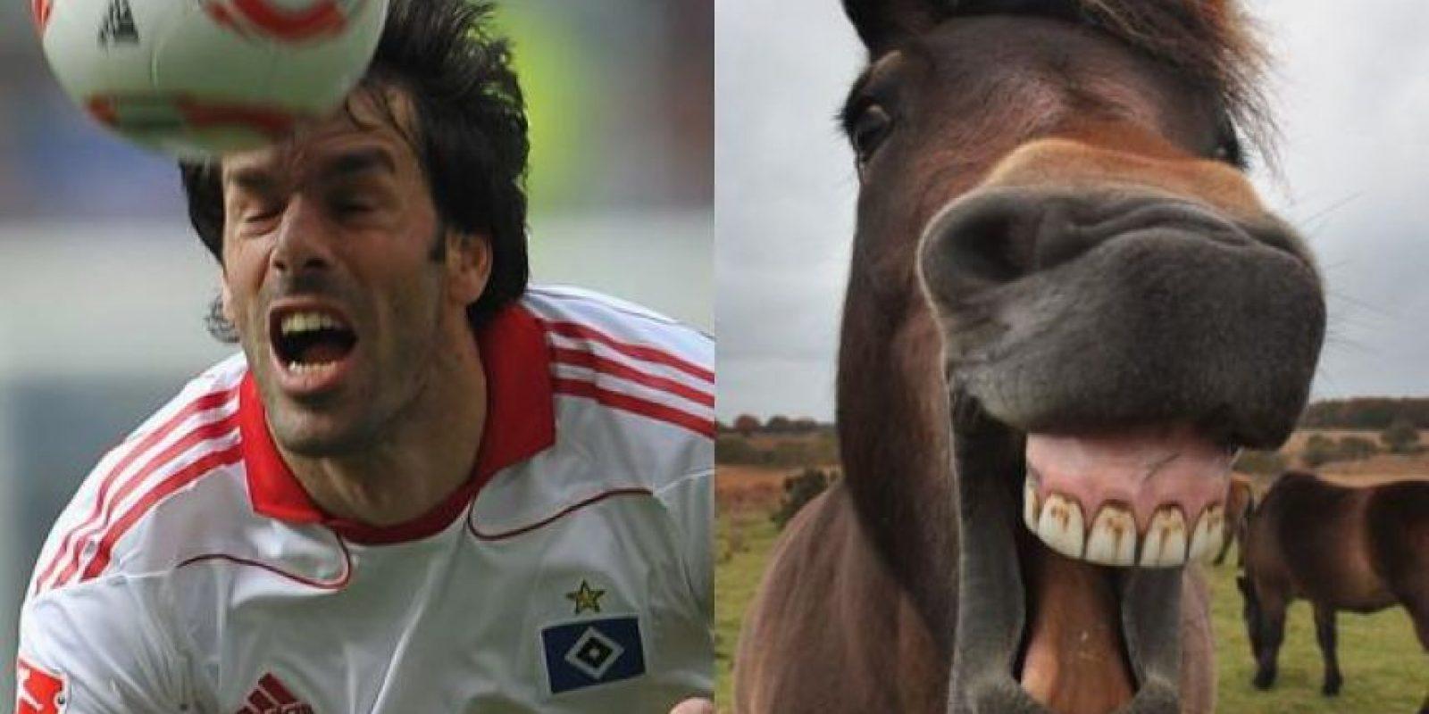 El exjugador del Real Madrid, Ruud Van Nistelrooy y este caballo. Foto:http://footyjokes.net
