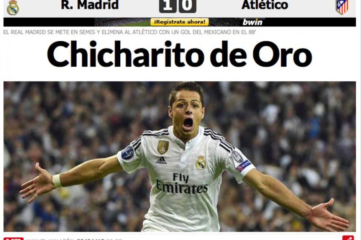 """En su edición online titularon: """"Chicharito de Oro"""". Foto:marca.com"""