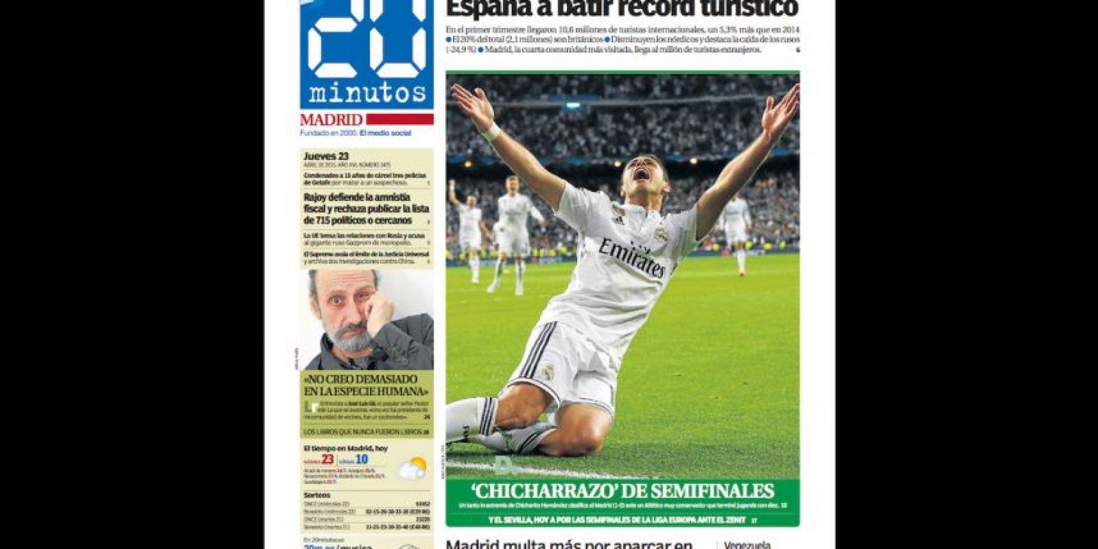 """""""Chicharrazo de semifinales"""" fue la cabeza de """"20 minutos"""" para el triunfo de los Merengues. Foto:20minutos.es"""