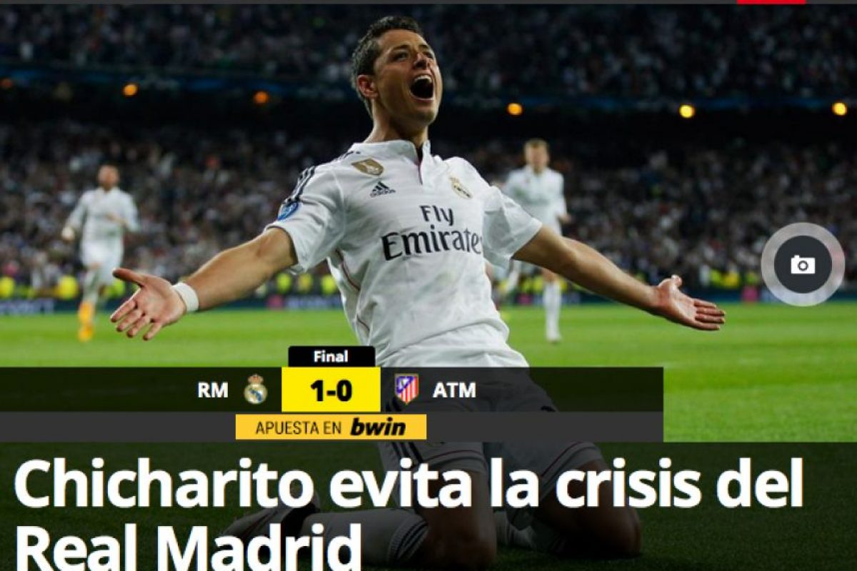 """La web catalana """"Mundo Deportivo"""" aseguró que el mexicano evitó una crisis en el conjunto merengue. Foto:mundodeportivo.com"""