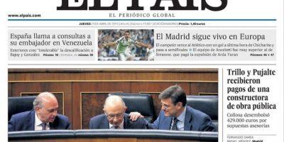 """El diario """"El País"""" le dio un espacio en la primera plana: """"El Madrid sigue vivo en Europa"""". Foto:elpais.es"""