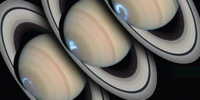 4.- Viendo la región polar sur del planeta durante varios días, Hubble tomó una serie de fotografías de las tormentas auroreales bailando en la atmósfera de Saturno. Foto:Hubble