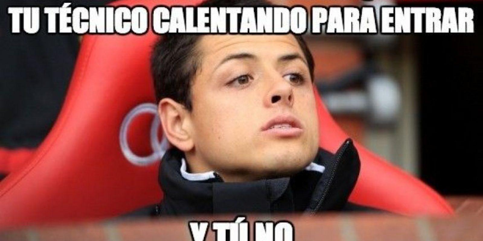 Sí, cuando Ryan Giggs prefirió entrar él antes que darle lugar al mexicano. Foto:memedeportes.com