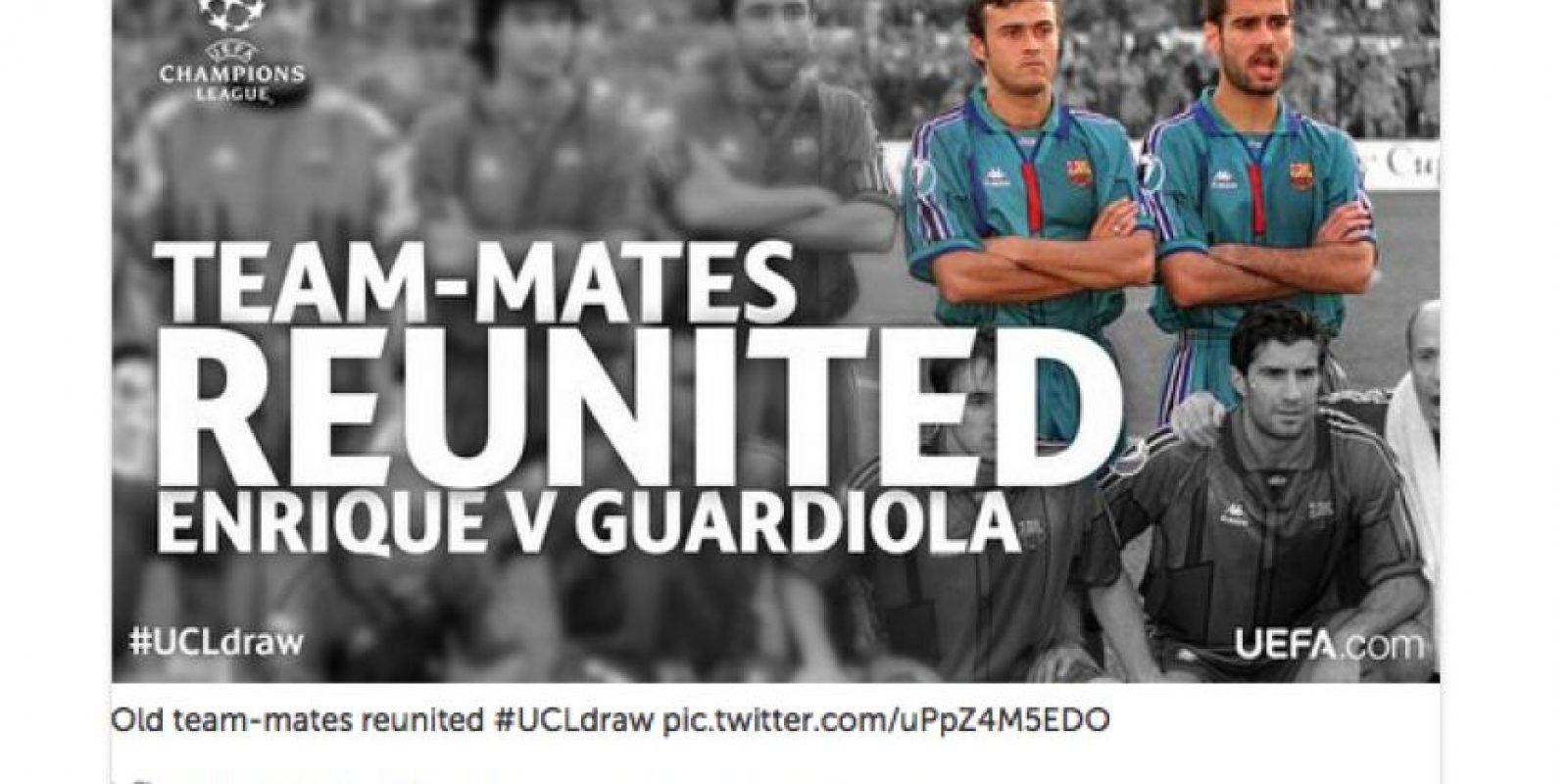 """Compañeros de equipo de reúnen: Enrique vs Guardiola"", publicó la cuenta de la Champions League. Foto:Vía Twitter.com/ChampionsLeague"