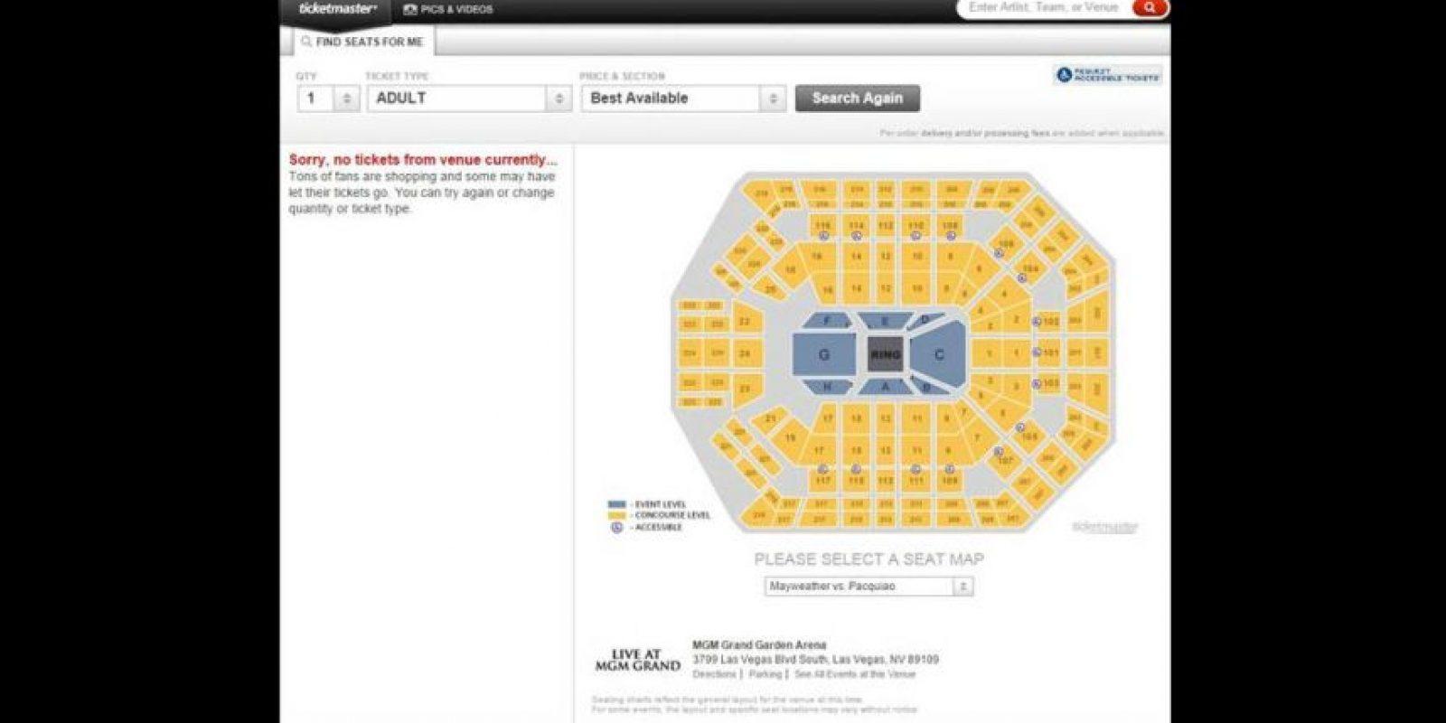 """Las entradas para la """"Pelea del Siglo"""" han sido las más caras en la historia del boxeo. Foto:Ticketmaster.com"""