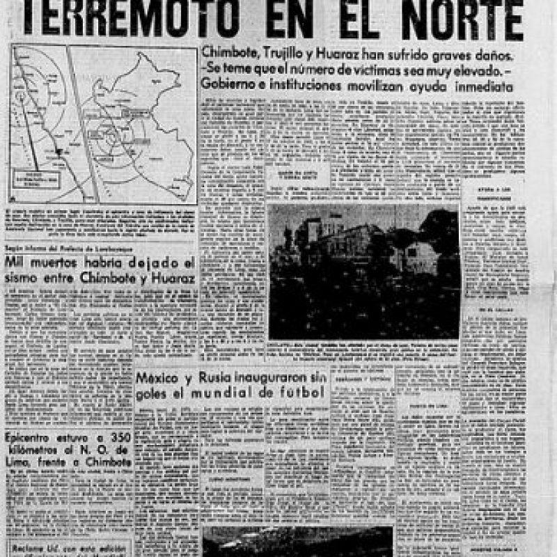 3. 31 de mayo de 1970, Chimbote, Perú: Desapareció por completo la comunidad de Yungay, cuya población era de 20 mil habitantes. Foto:Arkivperu.com