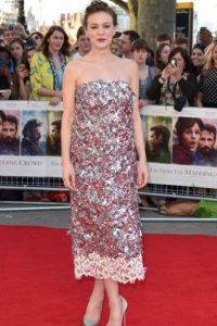 Carey Mulligan se llevó un proyecto escolar como vestido para la alfombra roja. Foto:vía Getty Images