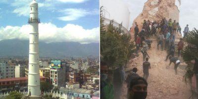 Asimismo, hay decenas de personas atrapadas en la Torre Bhimsen, la más alta de Katmandú. La torre fue construida en 1832 y se reportan por lo menos 9 muertos. Foto:vía Twitter/Alex Ogle