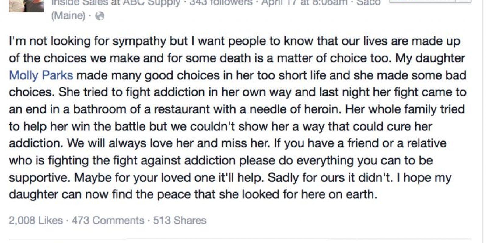 Su padre escribió también esto en Facebook. Foto:vía Facebook/ Tom Parks