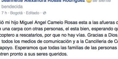 Su madre avisó que estaba bien por Facebook. Hay siete colombianos desaparecidos. Ya hay varios colombianos que se comunicaron con sus familias desde Nepal, pero la Cancillería de este país no ha dado un reporte oficial aún. Foto:vía Facebook