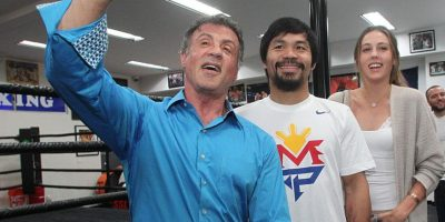 """El protagonista de """"Rocky"""" visitó al boxeador filipino en Los Ángeles para demostrarle su apoyo de cara a la """"Pelea del Siglo"""". Foto:Vía facebook.com/TopRankMannyPacquiao"""