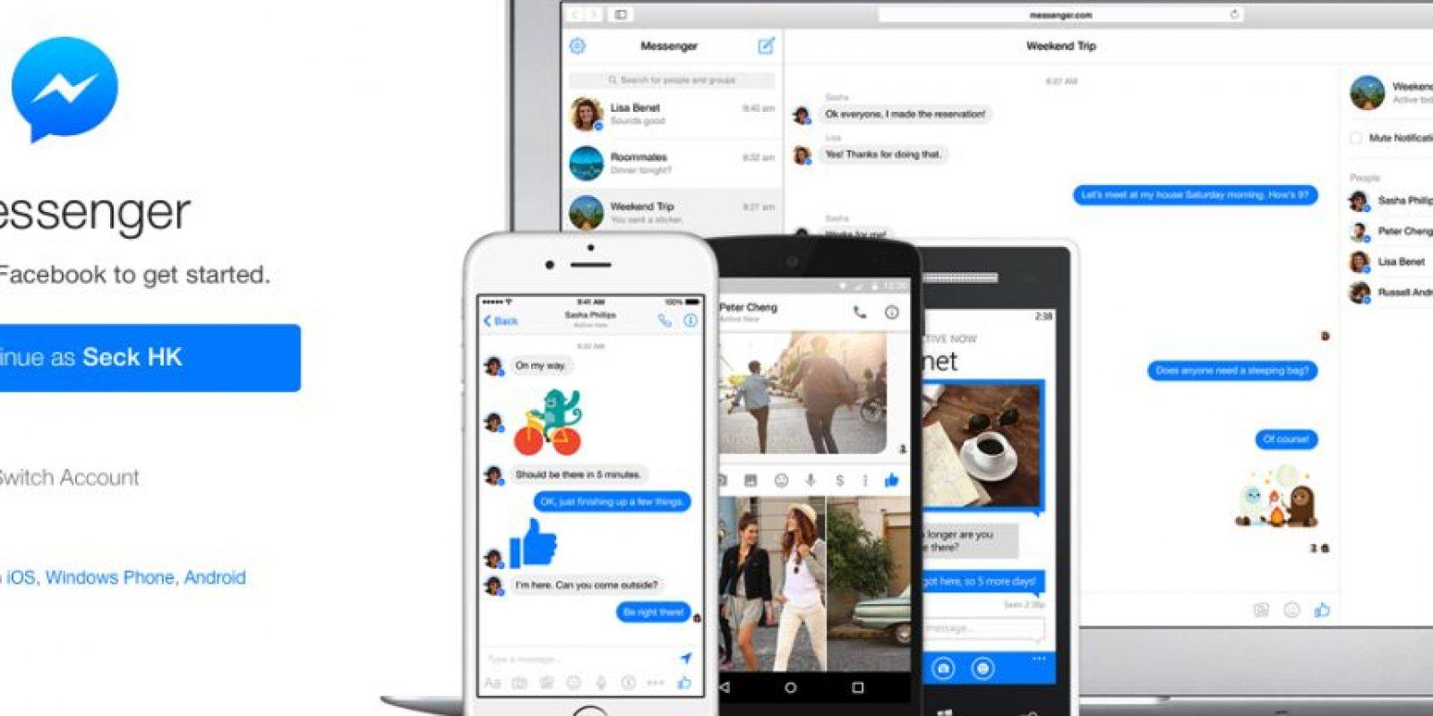 El servicio de Messenger de esta red ya está disponible para clientes web Foto:Messenger de Facebook