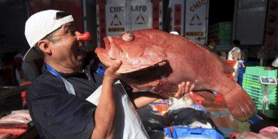 """¿Qué hace un pez payaso? """"Nada"""", responde Alberto con una sonrisa frente a un mero rojo en el Terminal Pesquero de Villa María del Triunfo. Foto:Sengo Pérez"""