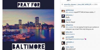 """Publicó una imagen con la leyenda """"Reza por Baltimore"""" Foto:Instagram.com/caradelevingne"""