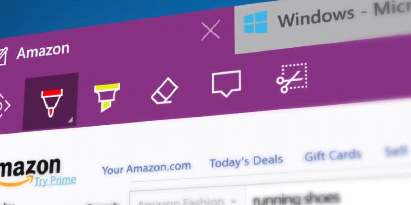 También se agregaron más opciones web como recortar, anotar, marcar y borrar en una página web Foto:Microsoft Windows