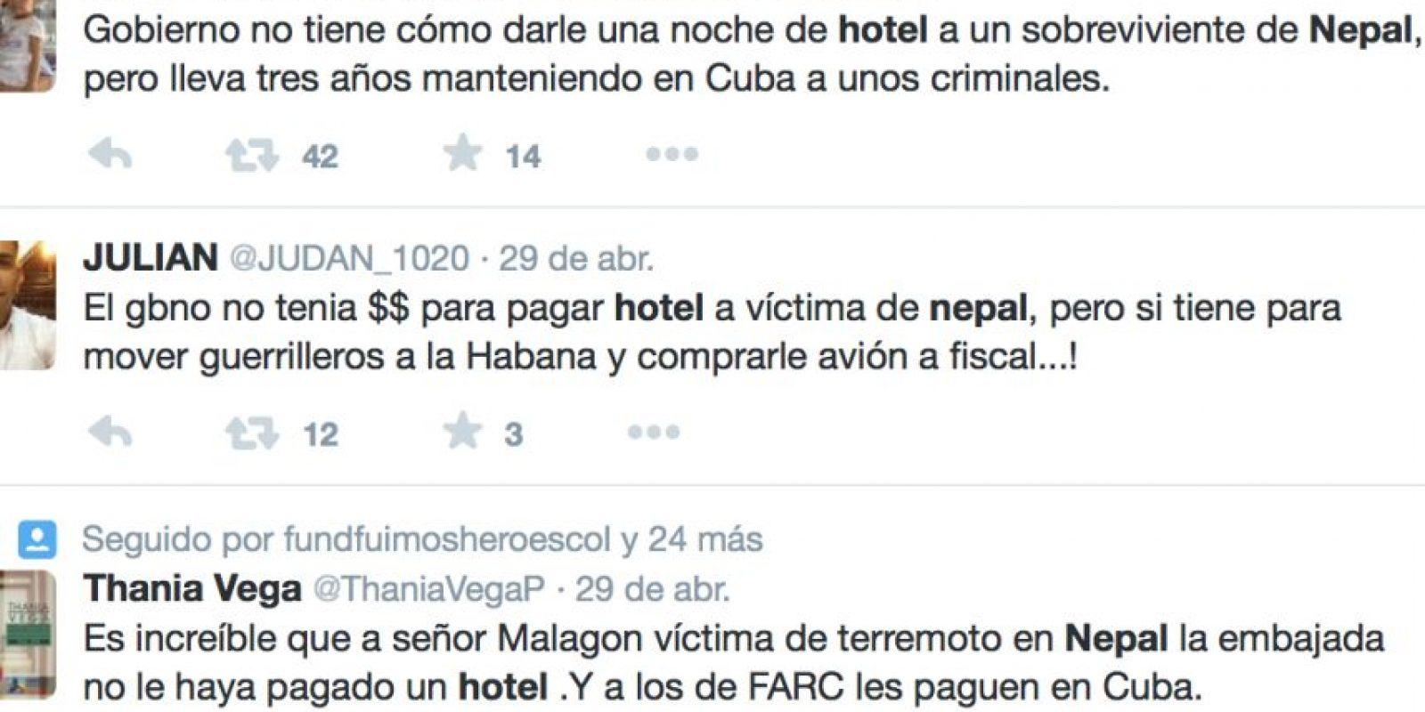 Luis Alberto Malagón fue uno de los 35 colombianos sobrevivientes en el terremoto de Nepal y afirma que el gobierno no hizo nada por él. Foto:vía Twitter