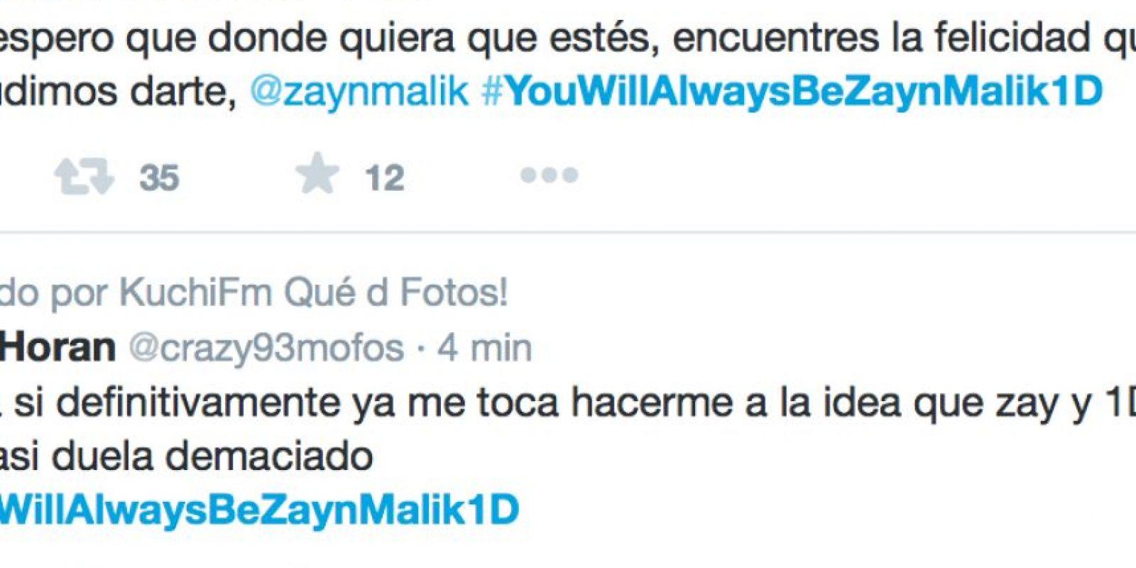Ante esto, las fans han creado hashtag, porque ya es oficial: Zayn no hace parte del grupo. Foto:vía Twitter