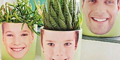 Unas maceteros o jardineras con la foto de la familia Foto:Pinterest
