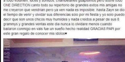 """La que invitó a """"One Direction"""" a su fiesta. Foto:vía Facebook"""