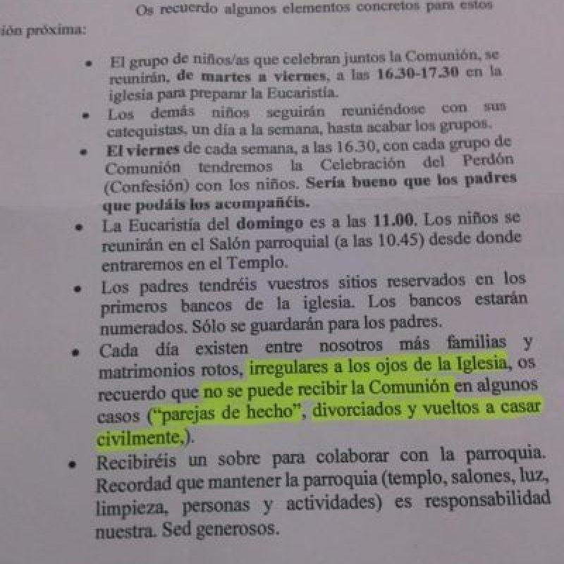 Ángela Conesa es una madre española divorciada. Su hijo hará la Primera Comunión y esta carta le llegó en las recomendaciones. Lo que la indignó fue que no pudiese comulgar por ser divorciada. Foto:vía Facebook/Ángela Conesa