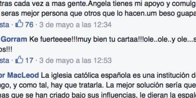 Su post ya ha sido alabado por varios que han visto en el gesto de esta institución un elemento retrógrado. Foto:vía Facebook/Ángela Conesa