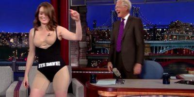 Solo se quedó con un leotardo negro Foto:Late Show with David Letterman