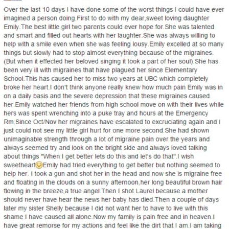 Este es el mensaje de Randy en su cuenta de Facebook que poco después fue eliminado. Foto:Facebook