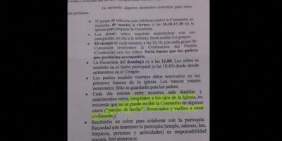 Ángela Conesa es una madre española divorciada. Su hijo hará la Primera Comunión y esta carta le llegó en las recomendaciones. Lo que la indignó fue que no pudiese comulgar por ser divorciada. Foto:Facebook/Ángela Conesa