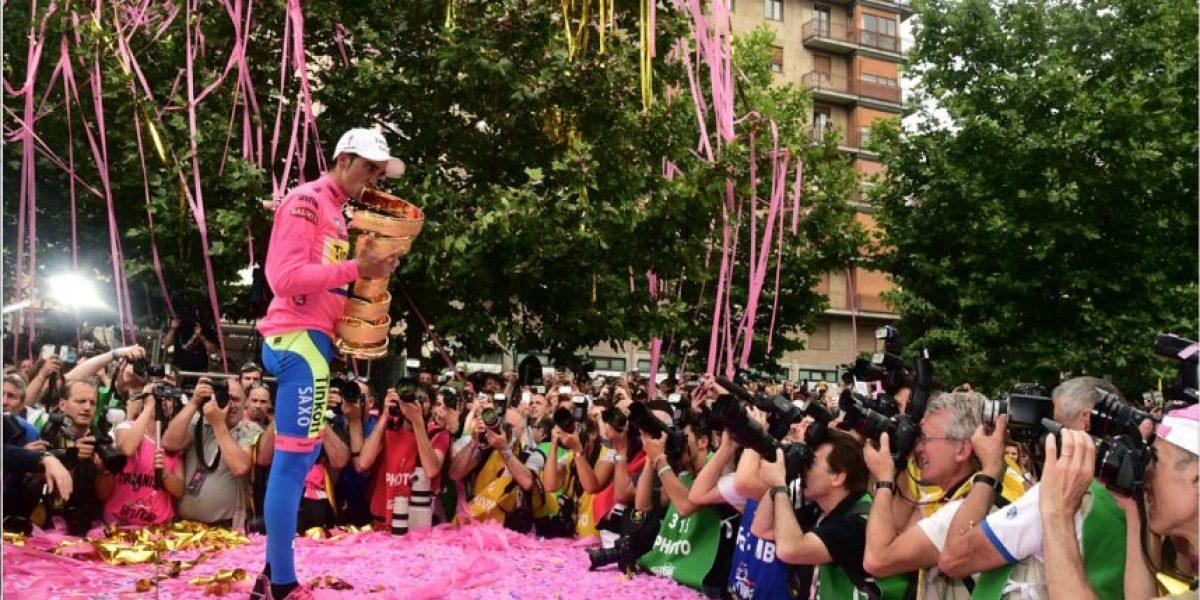FOTOS: El festejo rosa de Alberto Contador
