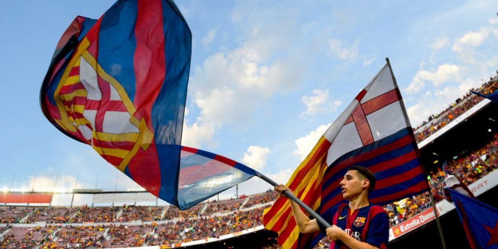 Las banderas catalanas fueron ondeadas. Foto:Getty Images
