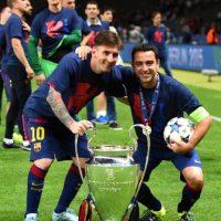 Junto al gran capitán, Xavi Foto:Getty Images